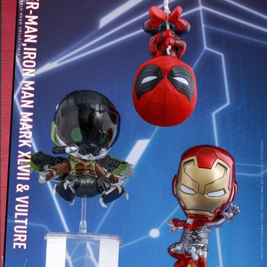Picture of Hot Toys Cosbaby Spider-man Homecoming 3 Figure set Spider-man Iron Man and Vulture with Magnet Feature