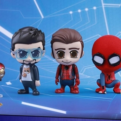 Picture of Hot Toys Cosbaby Spider-man Homecoming 3 Figure set with mini Iron Man with magnet feature